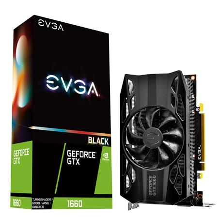 Placa de Video EVGA GeForce GTX 1660 BLACK GAMING 6GB GDDR5 Single Fan