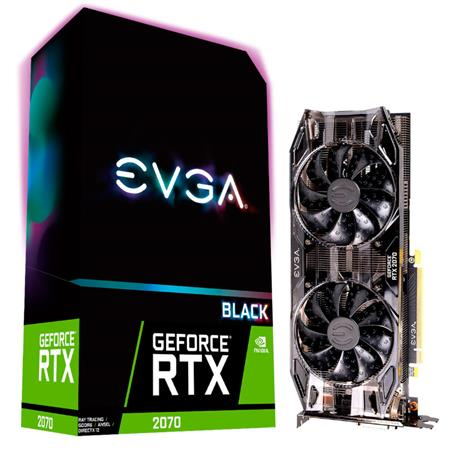 Placa de Video EVGA GeForce RTX 2070 Black GAMING, 8GB GDDR6, Dual HDB Fans