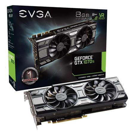 Placa de Video EVGA GTX1070 Ti SC GAMING, 8GB GDDR5, ACX 3.0 & Black Edition