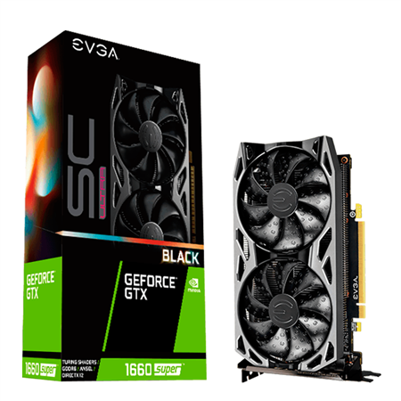 Placa de video EVGA GeForce GTX 1660 SUPER SC ULTRA BLACK GAMING 6GB GDDR6, Dual Fan, Metal Backplate